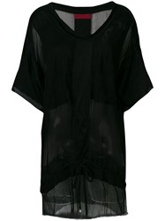 Di Liborio Sheer Panel Drawstring Tunic Black