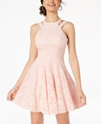 B. Darlin B Juniors' Glitter Lace Fit And Flare Dress Blush