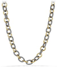 David Yurman Large Sterling Silver And 18K Gold Oval Link Necklace Gold Silver