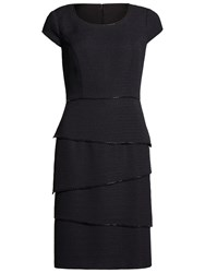 Gina Bacconi Layered Dress With Beaded Edges Black