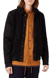 Topman Plush Fleece Harrington Jacket Black
