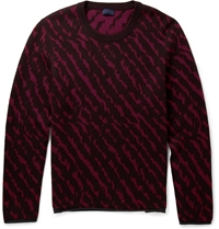 Lanvin Animal Intarsia Wool Jacquard Sweater Red