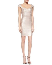 Herve Leger Cap Sleeve Shimmer Bandage Dress Rose Gold Combo