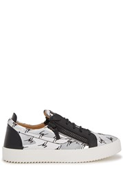 Giuseppe Zanotti Monogrammed Silver Patent Leather Trainers