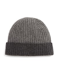 Bloomingdale's The Mens Store At Bloomingdales Color Block Cashmere Cuff Hat Light Grey Mid Grey