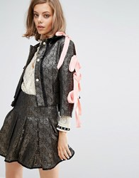 Sister Jane Crop Jacket In Jacquard With Satin Bow Sleeves Co Ord Gold