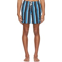 Bather Blue And Black Striped Gradient Swim Shorts