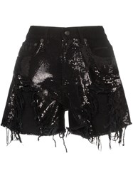 R 13 R13 Shredded Sequin Embellished Denim Shorts Black