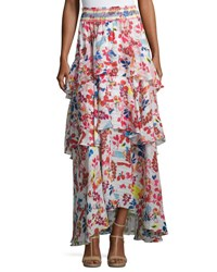 Tanya Taylor Designs Mariana Floral Burst Maxi Skirt White Multicolor White Pattern