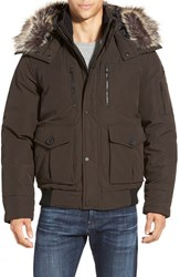 Men's Michael Kors Hooded Jacket With Faux Fur Trim Olive