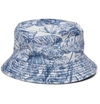 Alex Mill Cotton Jacquard Bucket Hat Blue