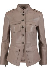 Tory Burch Leather Jacket Taupe
