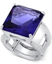 T Tahari Silver Tone Purple Crystal Cocktail Stretch Ring