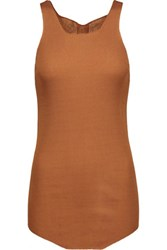 Rick Owens Ribbed Cotton Tank Light Brown