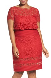 Tadashi Shoji Plus Size Women's Embroidered Lace Blouson Dress Deep Red