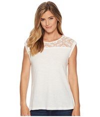 Tribal Cap Sleeve Top With Lace Neck Detail Eggshell Women's Clothing Beige