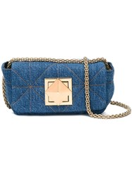 Sonia Rykiel Quilted Denim Crossbody Bag Blue