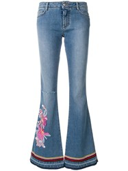 Ermanno Scervino Embroidered Flared Jeans Silk Cotton Polyester Spandex Elastane Blue