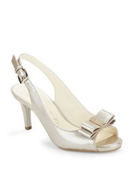 Anne Klein Stephania Leather Peep Toe Pumps Taupe