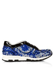 Lanvin Sequin Embellished And Patent Leather Trainers Blue