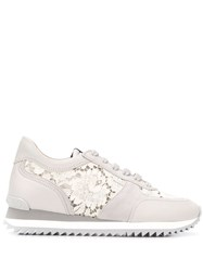 Le Silla Lace Embellished Suede Sneakers 60