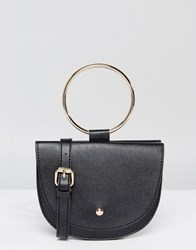 Melie Bianco Vegan Leather Crescent Across Body Bag With Hoop Hardware Black