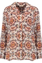 L'agence Soleil Printed Silk Crepe De Chine Blouse Cream