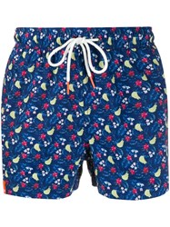 Sun 68 Hawaiian Print Swim Shorts Blue