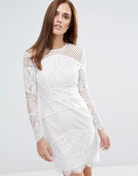 Forever Unique Block Lace Mini Bodycon Dress Ivory White