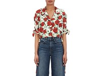 Alexander Wang Women's Rose Print Silk Twill Crop Blouse White
