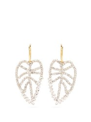 Lizzie Fortunato Crystal Leaf Gold Plated Earrings Crystal