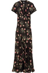 Vilshenko Bella Cape Effect Printed Silk Georgette Maxi Dress Black