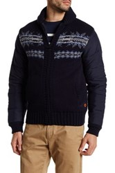 Barbour Bartlett Quilted Wool Zip Up Sweater Blue