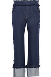 See By Chloe Cropped Frayed High Rise Straight Leg Jeans Dark Denim