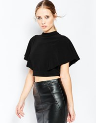 Asos High Neck Kimono Sleeve Crop Top With Open Back Black