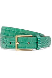 Andersons Anderson's Croc Effect Leather Belt Green