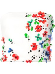 Monique Lhuillier Overlay Floral Applique Strapless Tube Top White