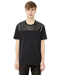 Neil Barrett Faux Leather And Cotton T Shirt Black