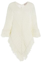 Emilio Pucci Crochet Knit Cape White