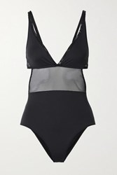 Stella Mccartney Cutout Mesh Trimmed Swimsuit Black