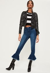 Missguided Blue Premium High Waisted Frill Hem Flare Jeans