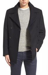 Men's Nordstrom Wool Blend Double Breasted Peacoat Black