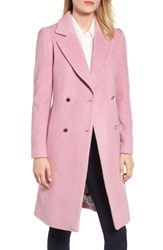 Ted Baker London Chevron Wool And Cashmere Coat Light Pink