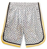 Gucci Webbing Trimmed Logo Embroidered Iridescent Jersey Shorts Silver