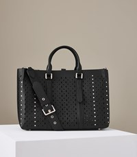 Reiss Picton Laser Cut Laser Cut Leather Tote In Black