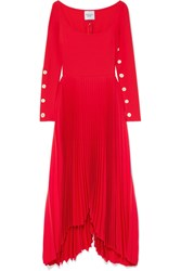Awake A.W.A.K.E. Pleated Crepe Maxi Dress Red