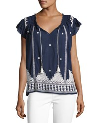 Joie Mirena Short Sleeve Embroidered Top Blue