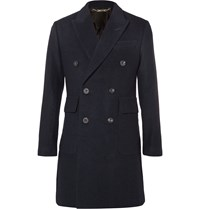 Hardy Amies Slim Fit Double Breasted Brushed Cashmere Overcoat Blue