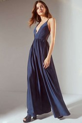 Urban Outfitters Uo Gia Plunging Shimmer Jumpsuit Navy