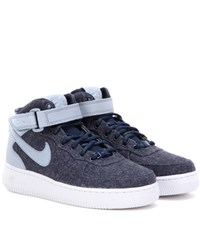 Nike Air Force Mid '07 Fabric And Leather High Top Sneakers Blue